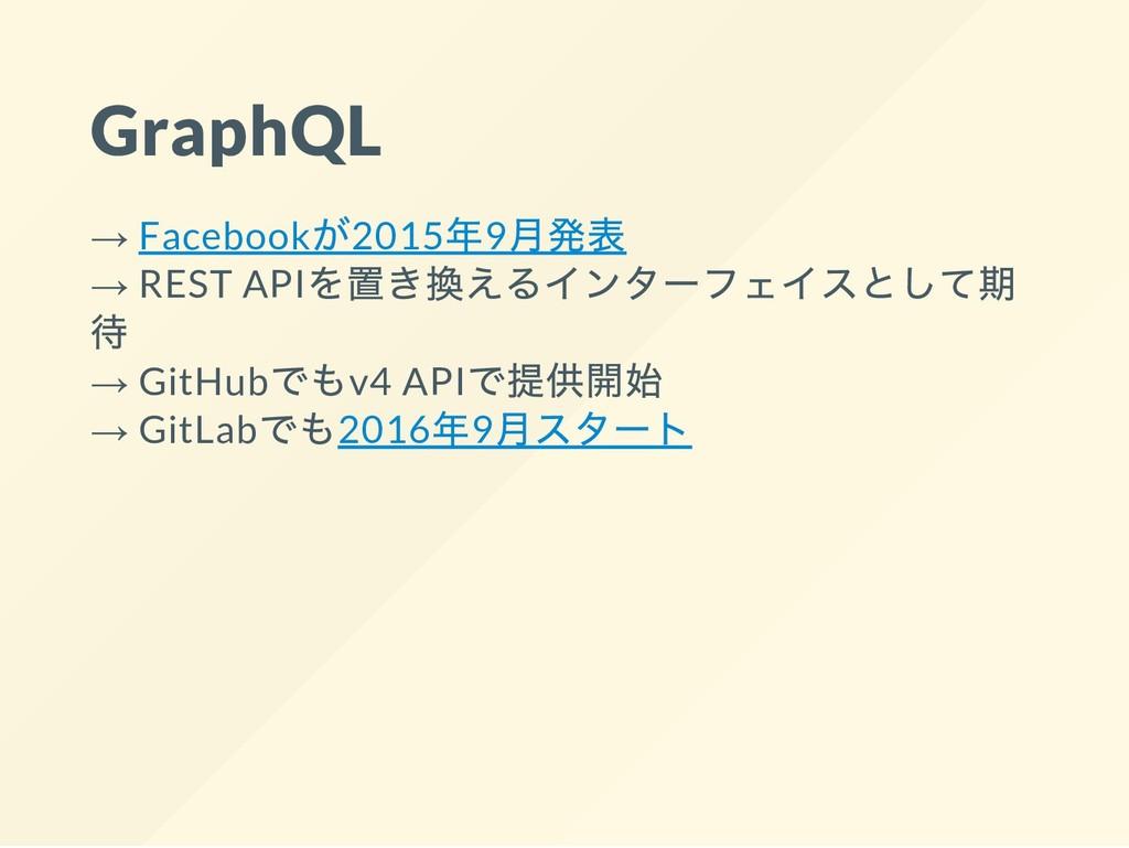 GraphQL → Facebook 2015 9 → REST API → GitHub v...