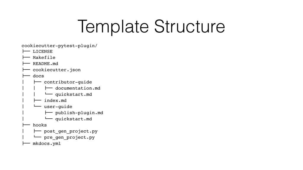 Template Structure cookiecutter-pytest-plugin/ ...
