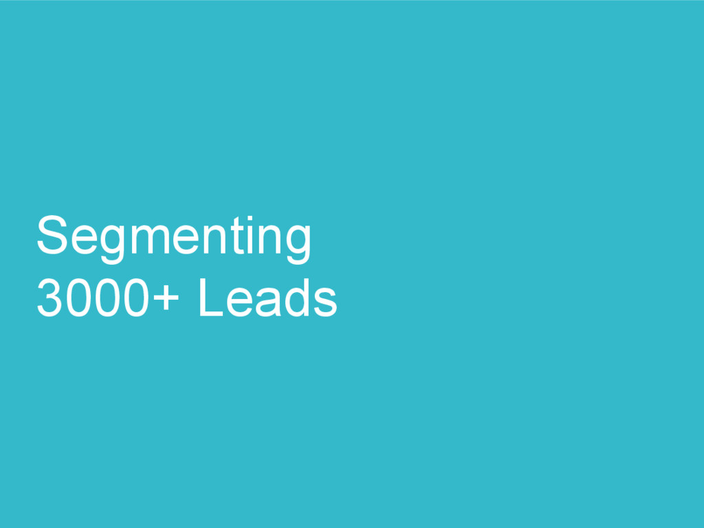 Segmenting 3000+ Leads