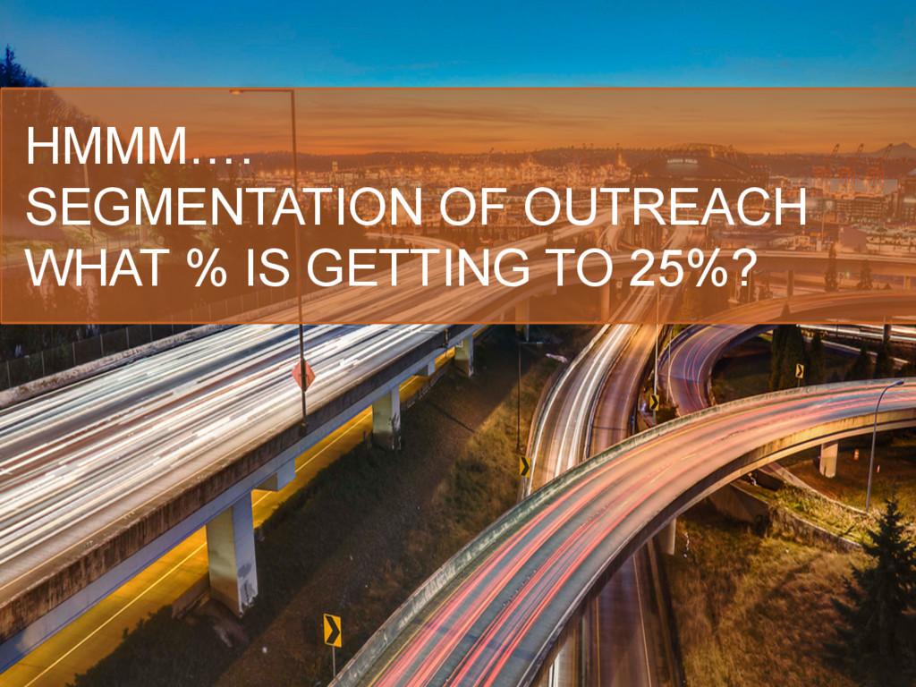HMMM…. SEGMENTATION OF OUTREACH WHAT % IS GETTI...
