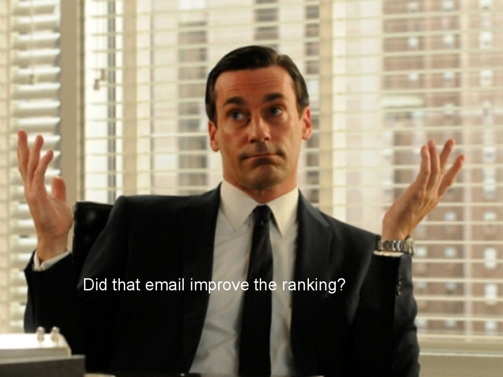 Did that email improve the ranking?