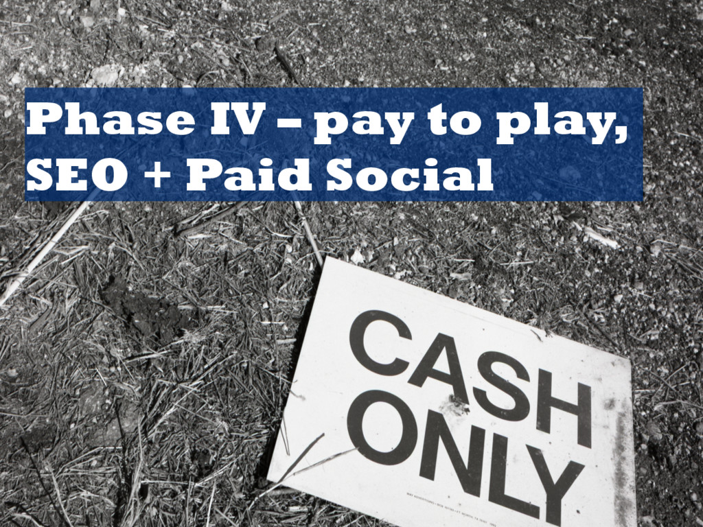Phase IV – pay to play, SEO + Paid Social