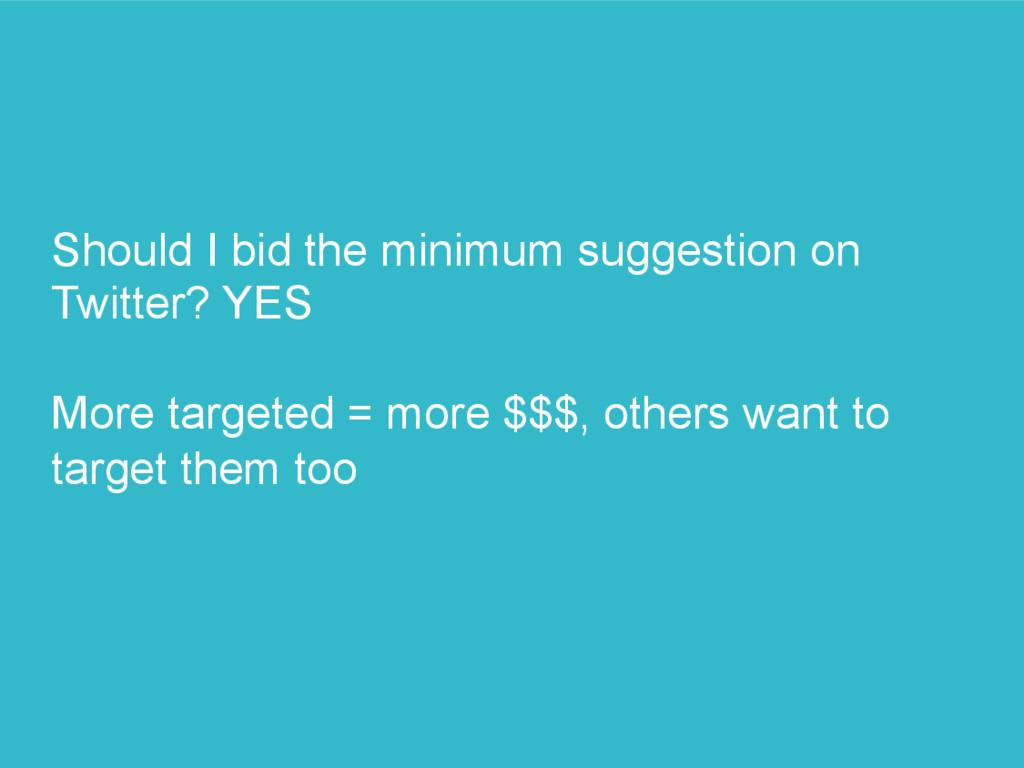 Should I bid the minimum suggestion on Twitter?...