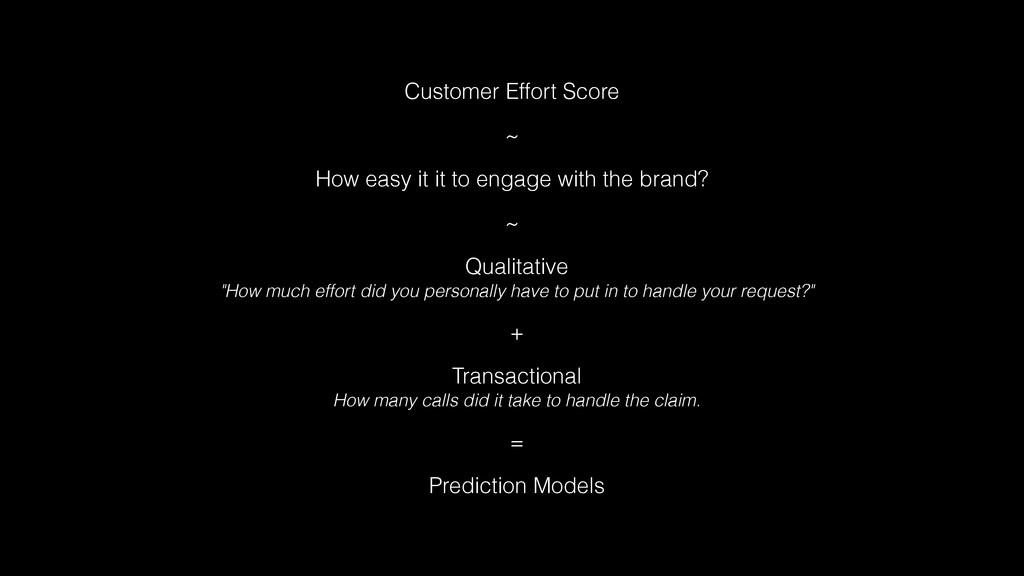 Customer Effort Score ~ How easy it it to engag...