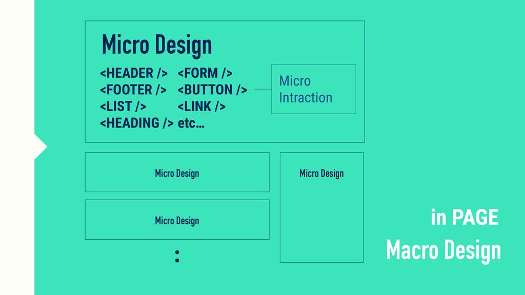 Micro Design Macro Design <HEADER /> <FOOTER />...