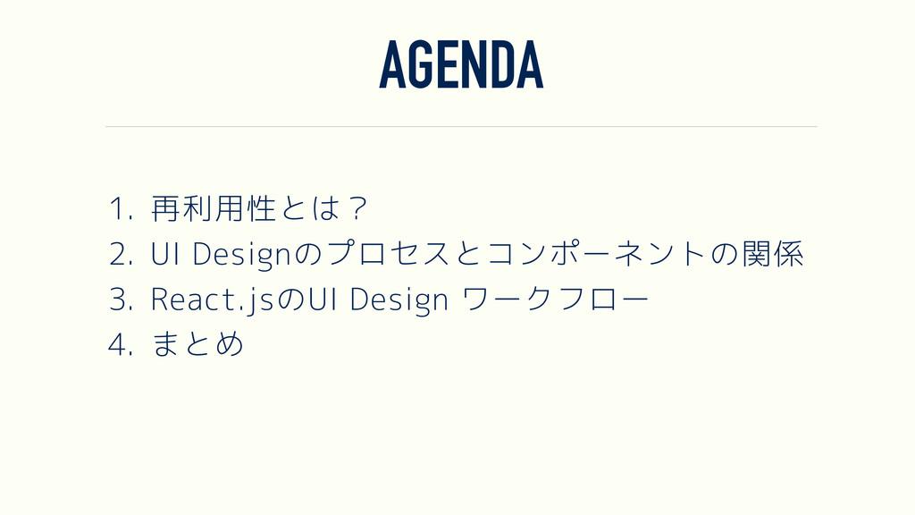 AGENDA 1. 再利用性とは? 2. UI Designのプロセスとコンポーネントの関係 ...