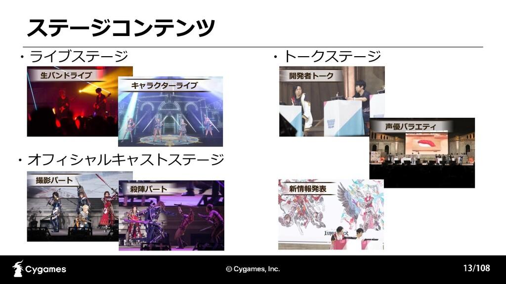 ・オフィシャルキャストステージ ステージコンテンツ ・ライブステージ ・トークステージ
