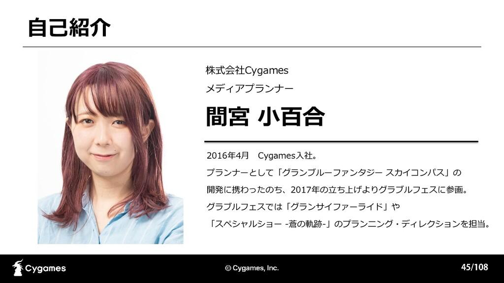 自己紹介 株式会社Cygames メディアプランナー 間宮 小百合 2016年4月 Cygam...
