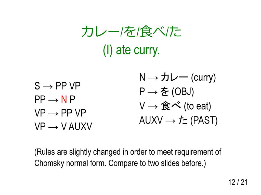 12 / 21 カレー/を/食べ/た (I) ate curry. S → PP VP PP ...