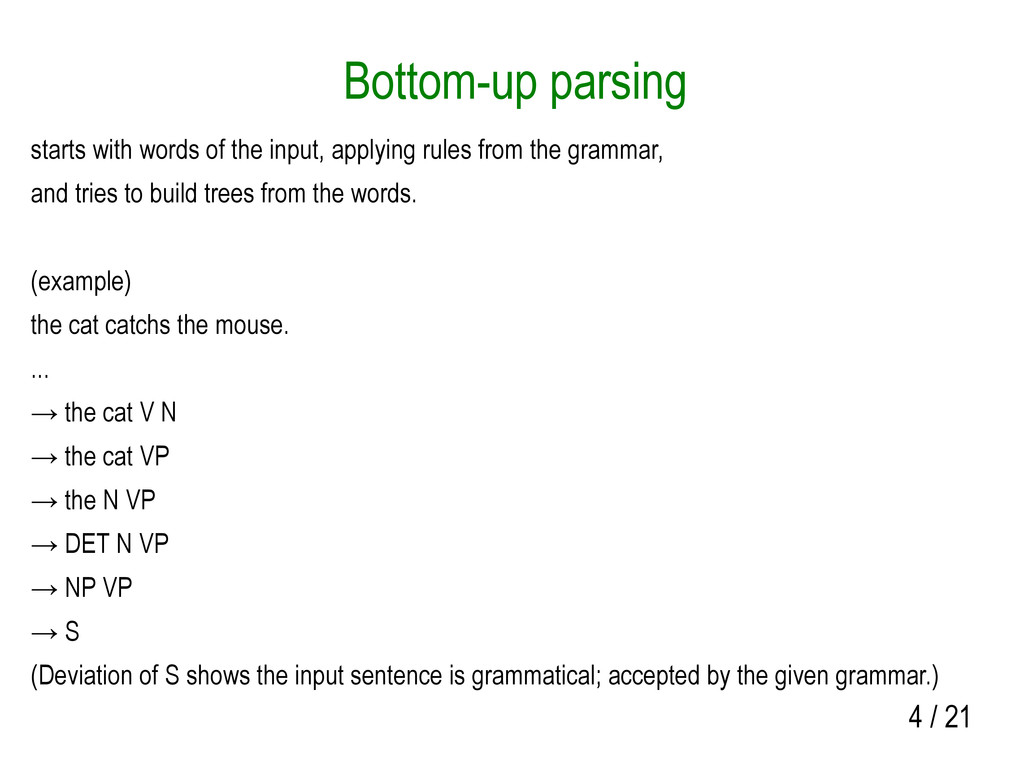 4 / 21 Bottom-up parsing starts with words of t...