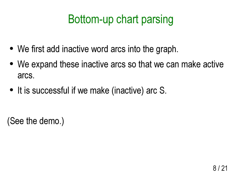 8 / 21 Bottom-up chart parsing ● We first add i...