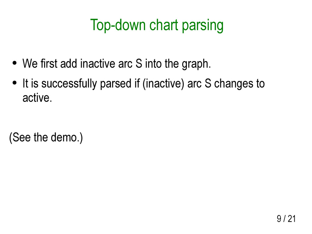 9 / 21 Top-down chart parsing ● We first add in...
