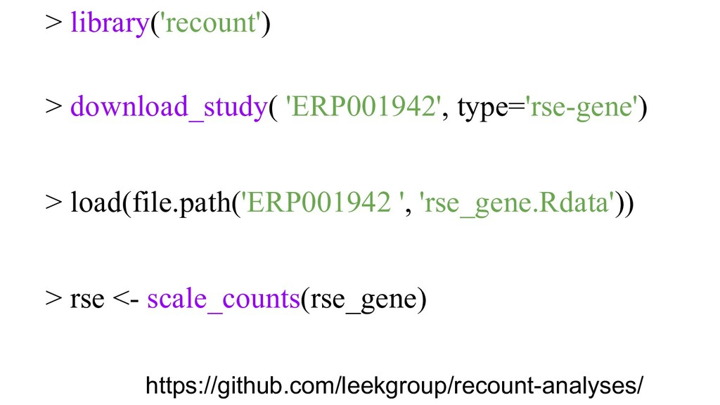 > library('recount') > download_study( 'ERP0019...