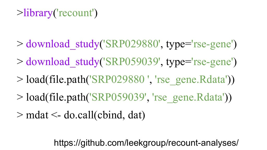 >library('recount') > download_study('SRP029880...