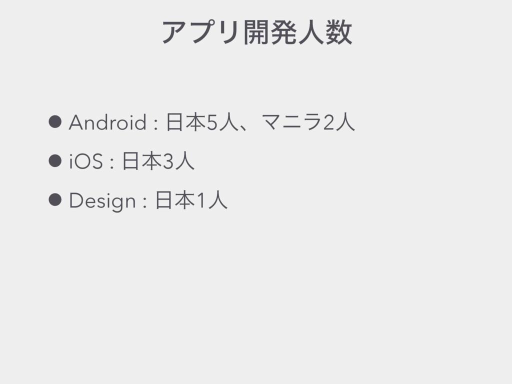 ΞϓϦ։ൃਓ •Android : ຊ5ਓɺϚχϥ2ਓ •iOS : ຊ3ਓ •Desi...