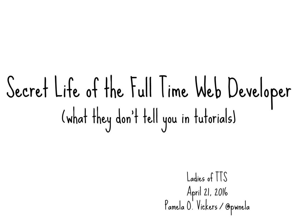 Secret Life of the Full Time Web Developer (wha...
