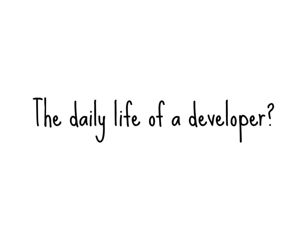 The daily life of a developer?