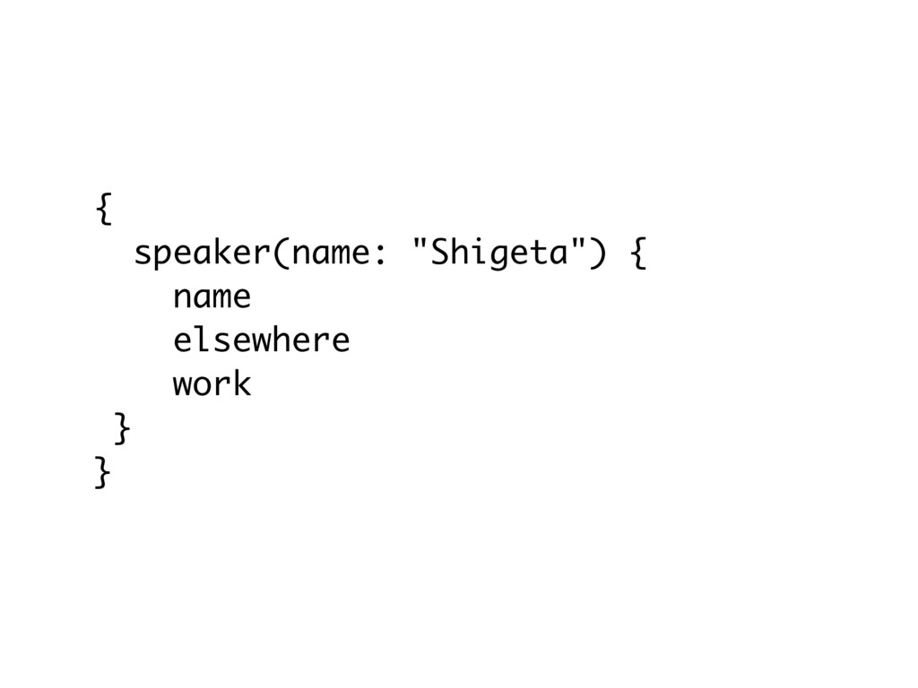"{ speaker(name: ""Shigeta"") { name elsewhere wor..."