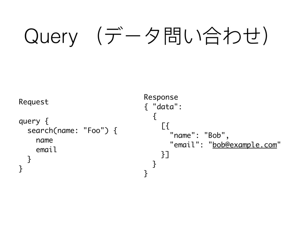 "Query (データ問い合わせ) Request query { search(name: ""..."