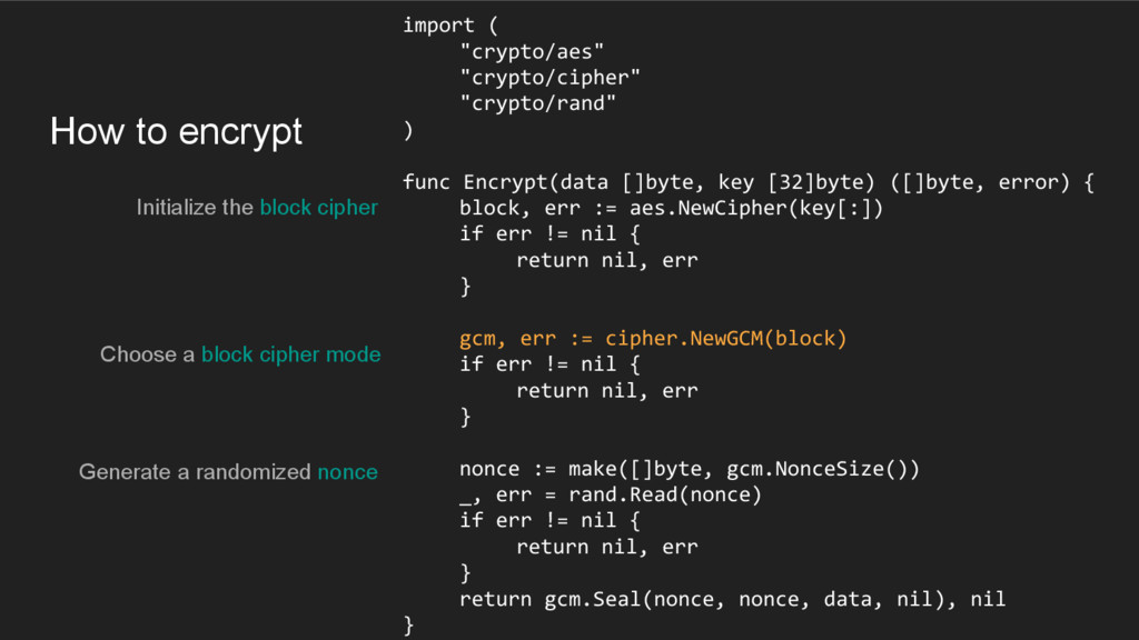 How to encrypt Initialize the block cipher impo...