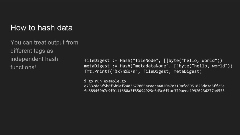 How to hash data You can treat output from diff...