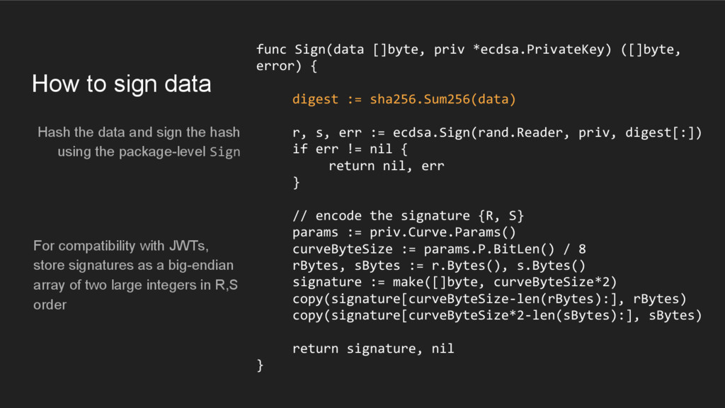 How to sign data Hash the data and sign the has...
