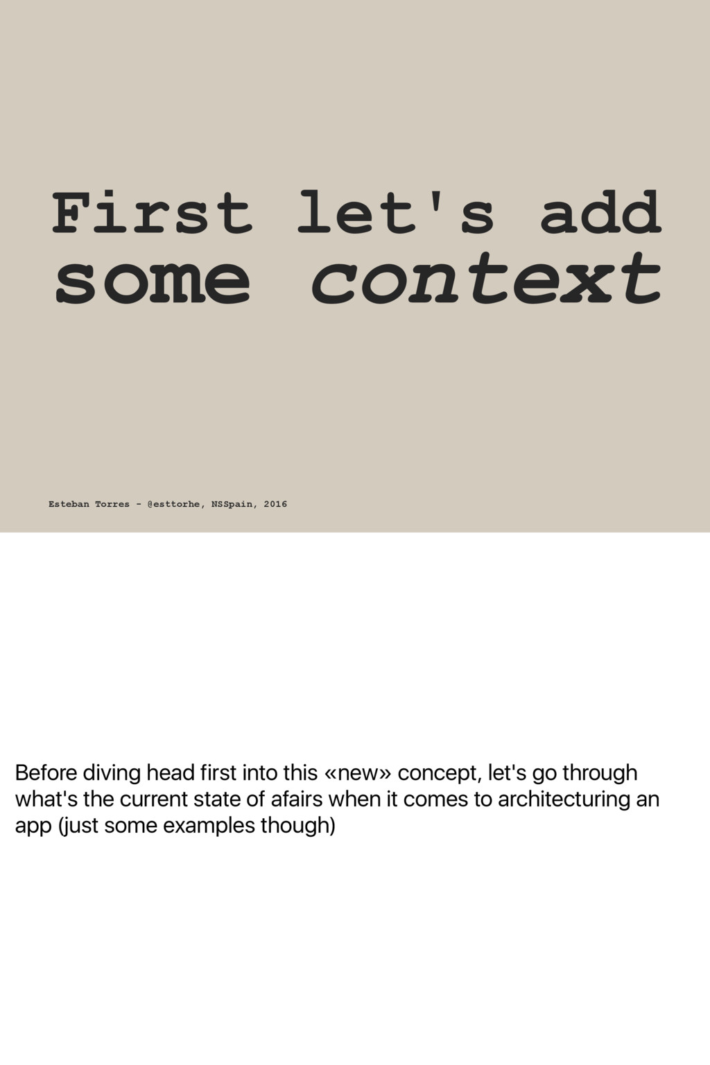Before diving head first into this «new» concep...
