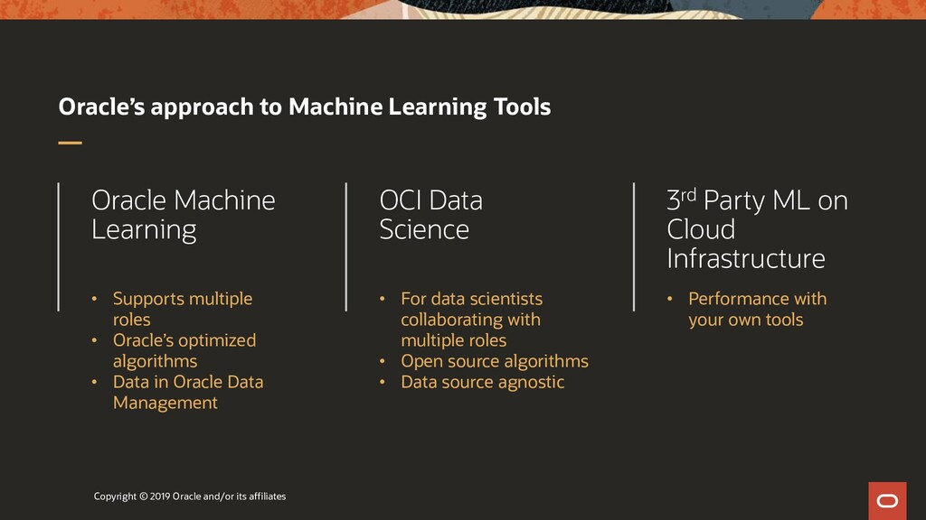 Oracle's approach to Machine Learning Tools Cop...