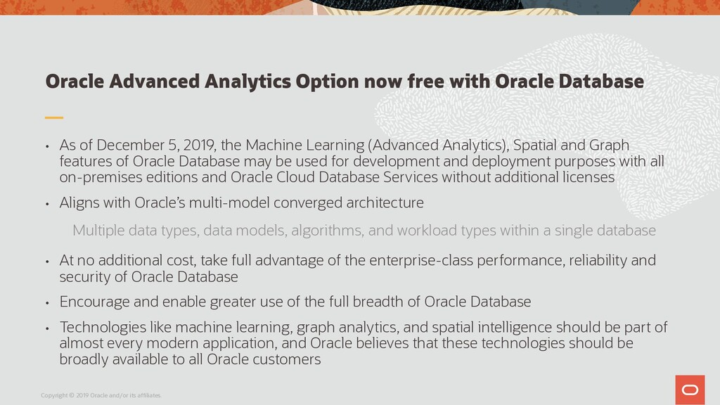 Oracle Advanced Analytics Option now free with ...