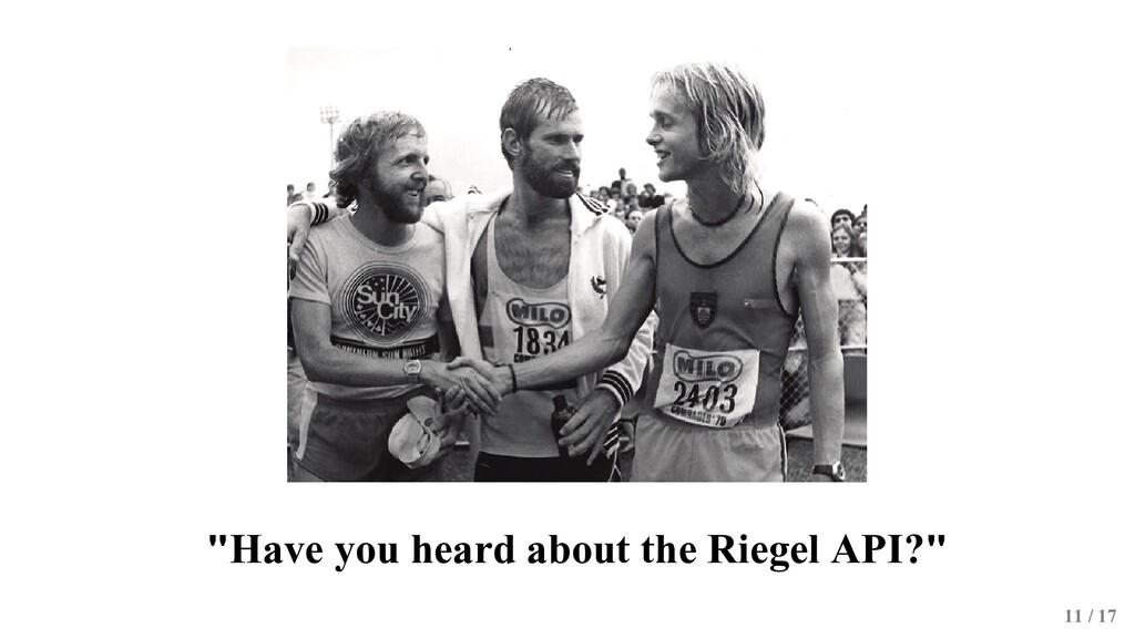 """""""Have you heard about the Riegel API?"""" 11 / 17"""