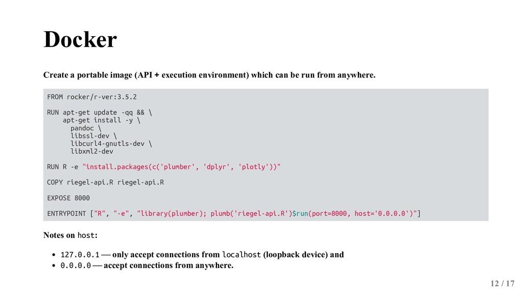 Docker Create a portable image (API + execution...