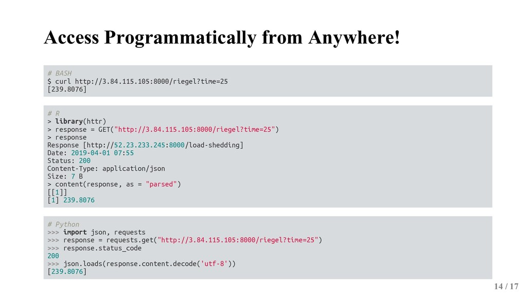 Access Programmatically from Anywhere! # BASH $...