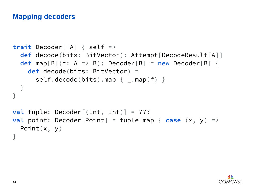 Mapping decoders 14 trait Decoder[+A] { self =>...