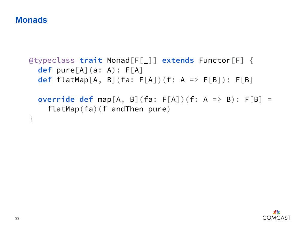 Monads 22 @typeclass trait Monad[F[_]] extends ...