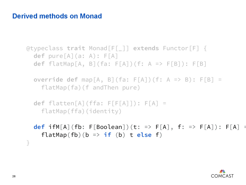 Derived methods on Monad 26 @typeclass trait Mo...