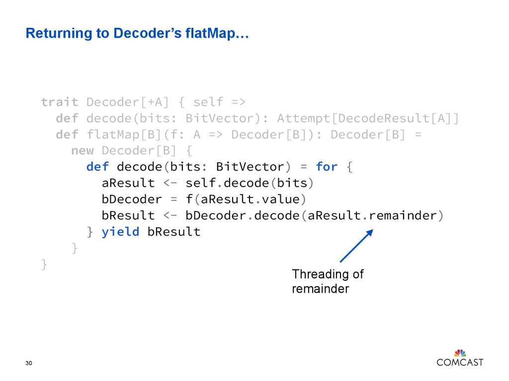 Returning to Decoder's flatMap… 30 trait Decode...