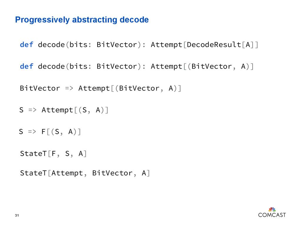 Progressively abstracting decode 31 def decode(...