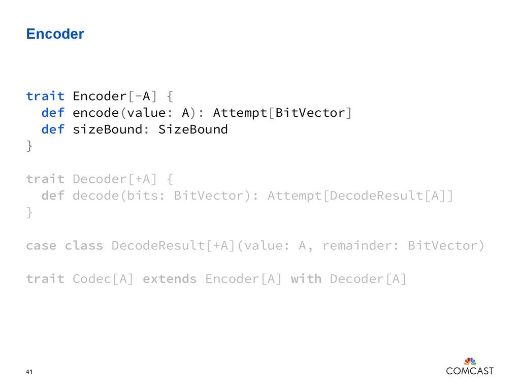 Encoder 41 trait Encoder[-A] { def encode(value...