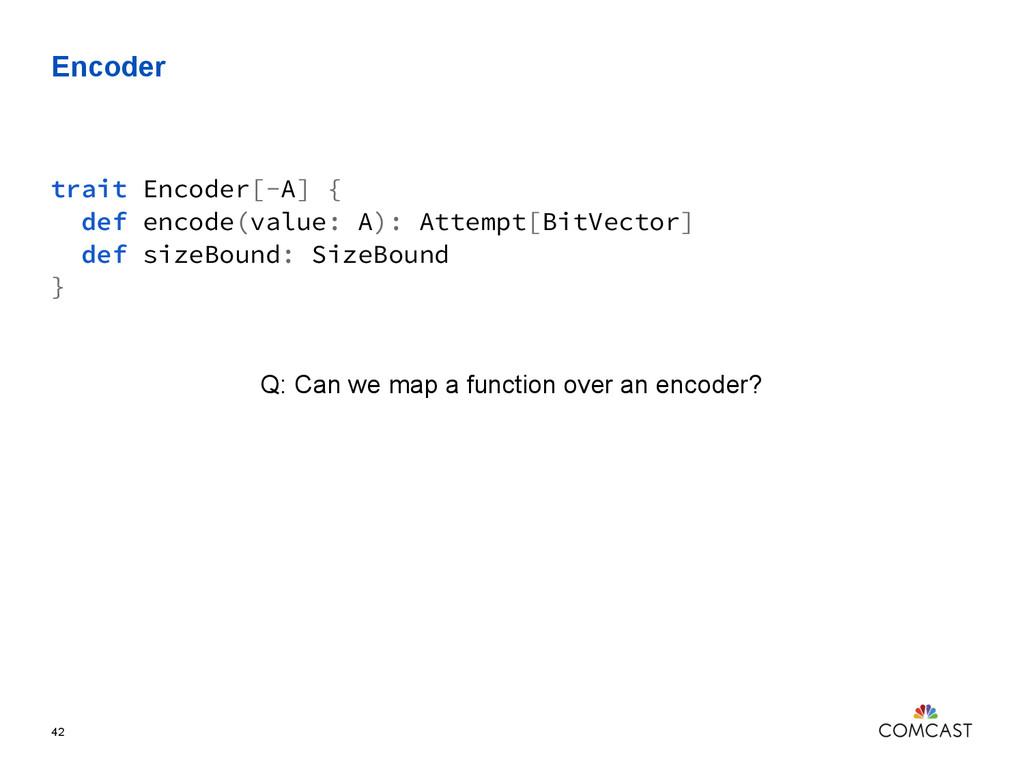 Encoder 42 trait Encoder[-A] { def encode(value...