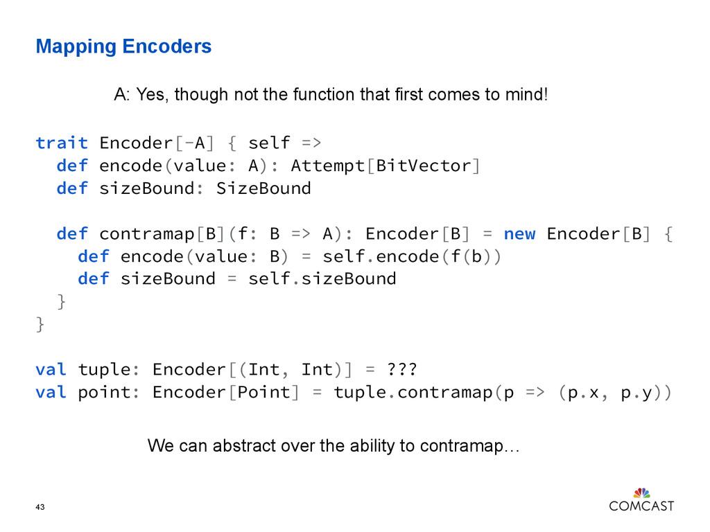 Mapping Encoders 43 trait Encoder[-A] { self =>...