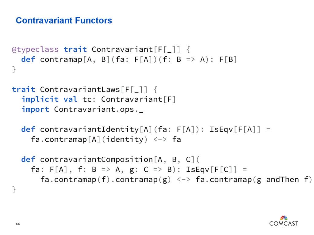 Contravariant Functors 44 @typeclass trait Cont...