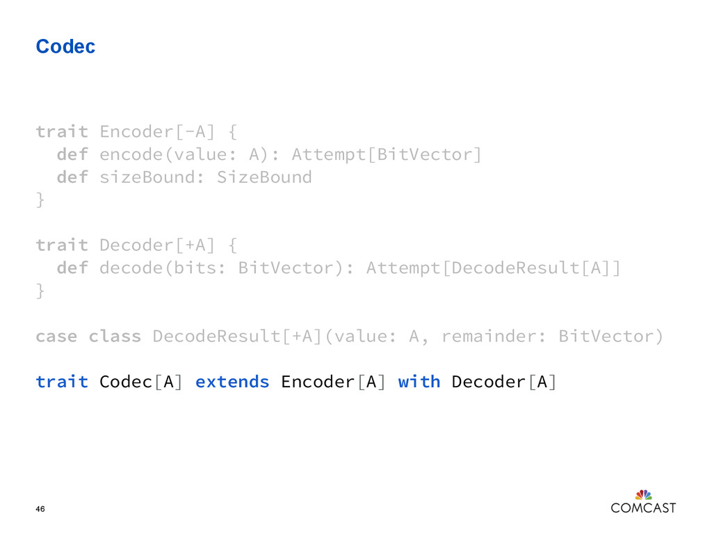Codec 46 trait Encoder[-A] { def encode(value: ...