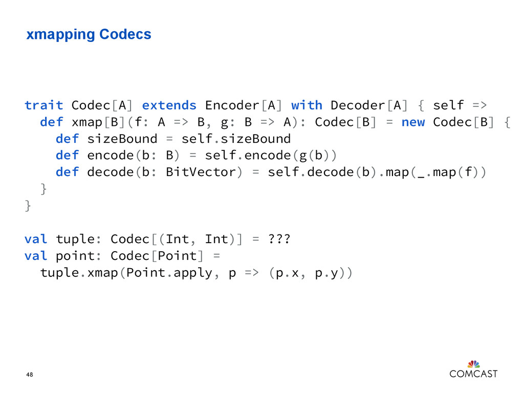 xmapping Codecs 48 trait Codec[A] extends Encod...