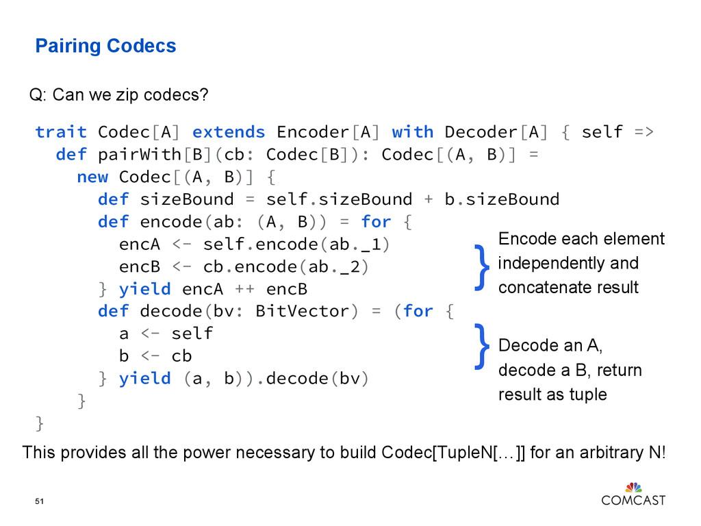 Pairing Codecs 51 trait Codec[A] extends Encode...