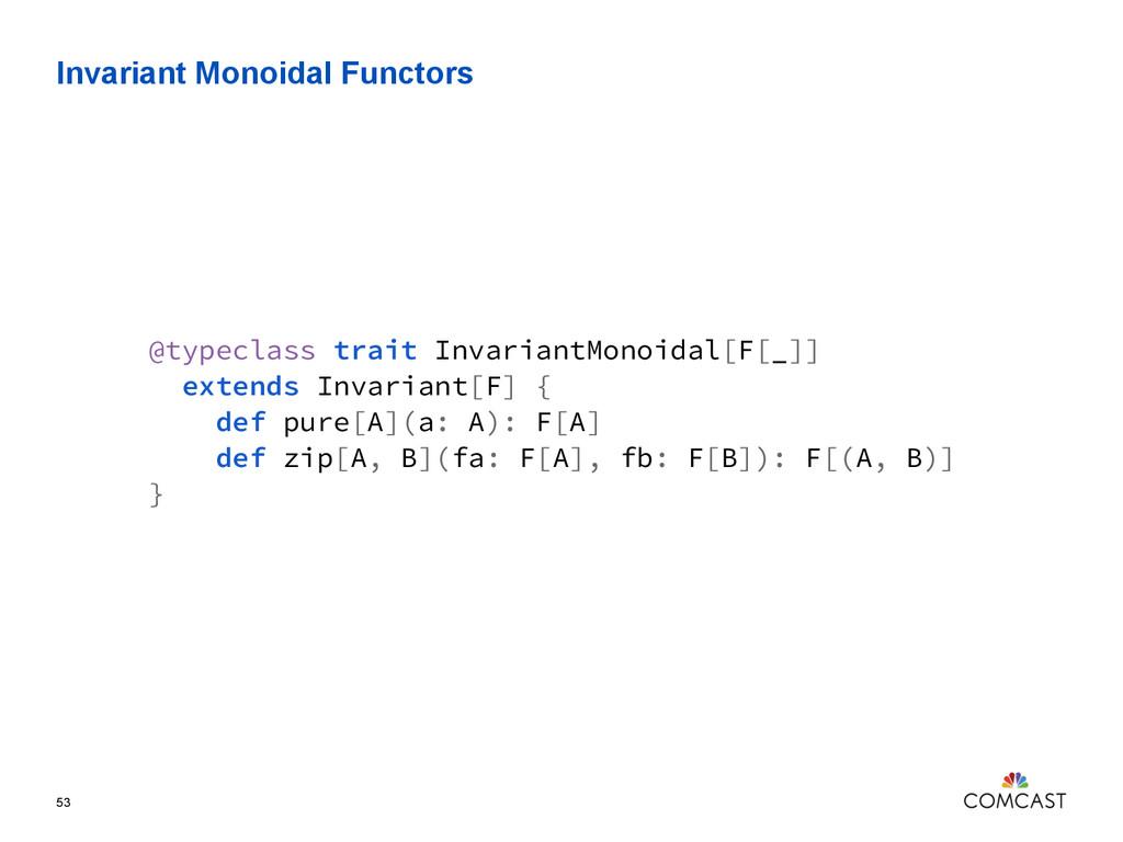 Invariant Monoidal Functors 53 @typeclass trait...