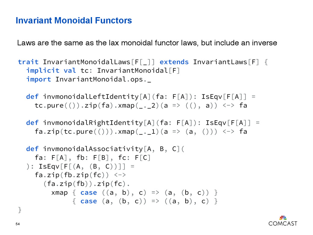 Invariant Monoidal Functors 54 trait InvariantM...