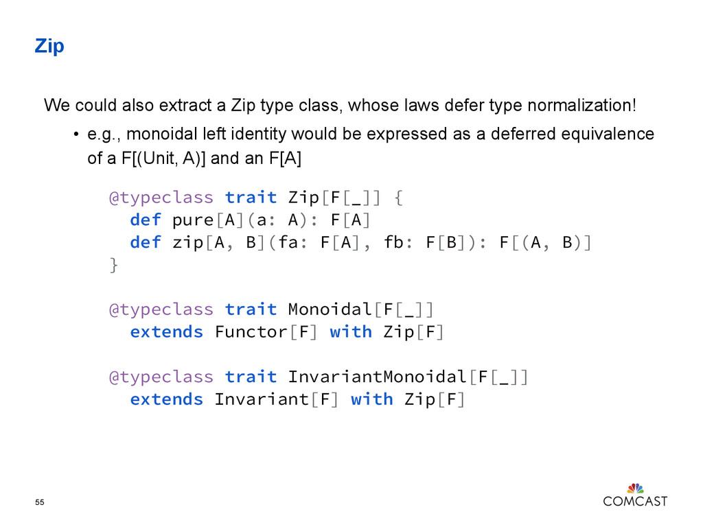Zip 55 @typeclass trait Zip[F[_]] { def pure[A]...