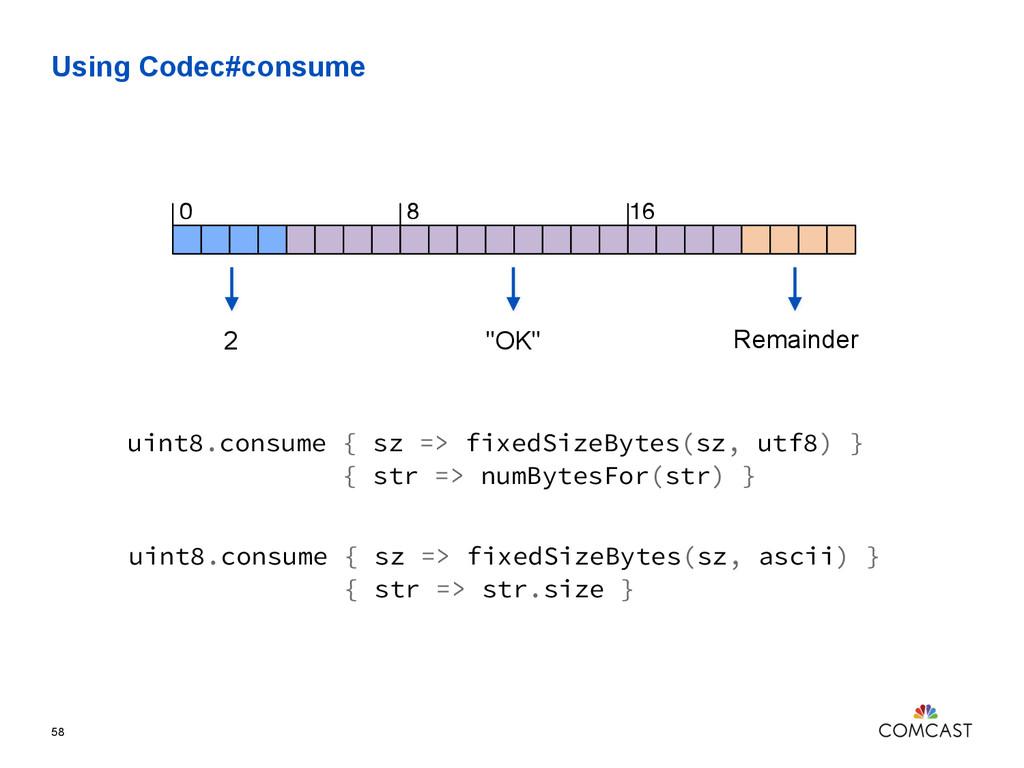 """Using Codec#consume 58 2 0 8 16 """"OK"""" Remainder ..."""