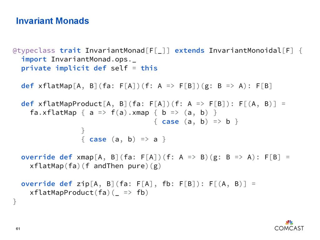 Invariant Monads 61 @typeclass trait InvariantM...