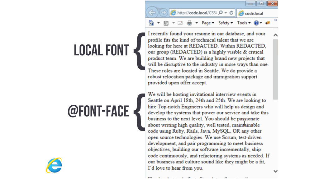 LOCAL FONT { @FONT-FACE {